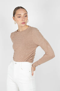 Beige shirring jersey long sleeved top2
