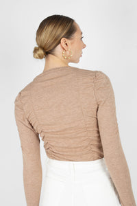 Beige shirring jersey long sleeved top3