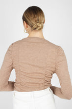 Load image into Gallery viewer, Beige shirring jersey long sleeved top4