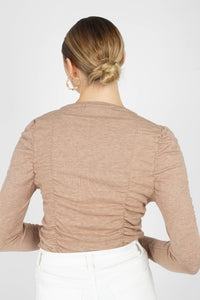 Beige shirring jersey long sleeved top4