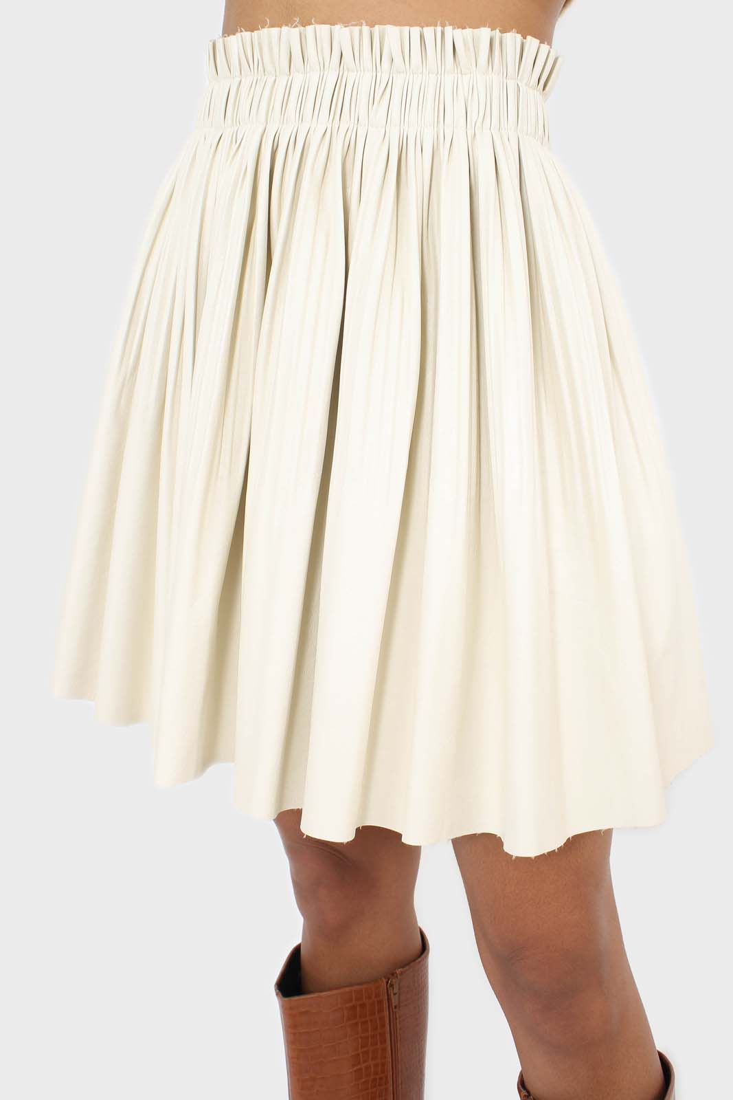 Ivory vegan leather micro pleat mini skirt 7