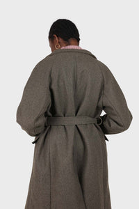 Charcoal double breasted long coat4