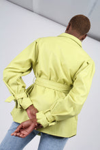 Load image into Gallery viewer, Lime vegan leather belted jacket11