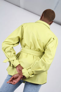 Lime vegan leather belted jacket11