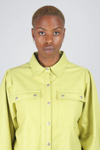 Lime vegan leather belted jacket12