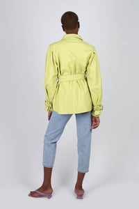 Lime vegan leather belted jacket1