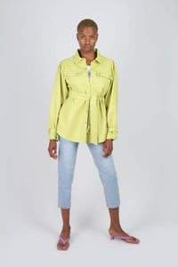 Lime vegan leather belted jacket3