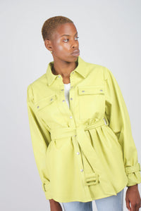 Lime vegan leather belted jacket4