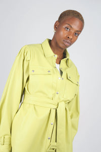 Lime vegan leather belted jacket5