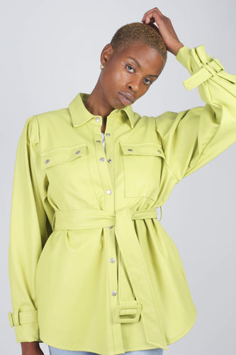 Lime vegan leather belted jacket6