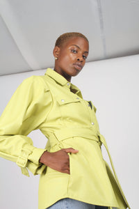 Lime vegan leather belted jacket7
