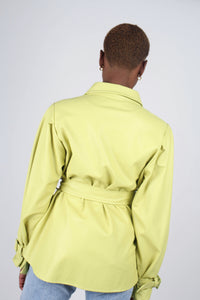 Lime vegan leather belted jacket9