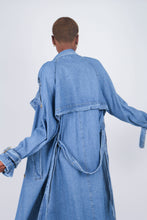 Load image into Gallery viewer, Dark denim long trench coat10