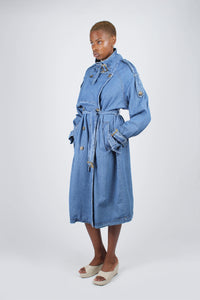 Dark denim long trench coat11