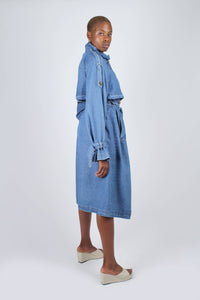 Dark denim long trench coat12