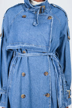 Load image into Gallery viewer, Dark denim long trench coat13
