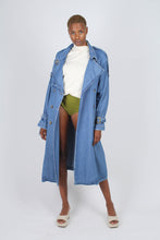 Load image into Gallery viewer, Dark denim long trench coat1