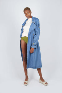 Dark denim long trench coat2