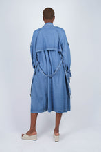 Load image into Gallery viewer, Dark denim long trench coat3