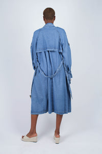 Dark denim long trench coat3