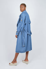 Load image into Gallery viewer, Dark denim long trench coat4