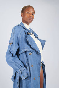 Dark denim long trench coat5