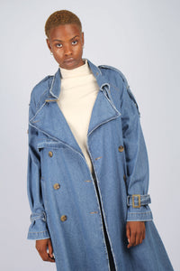 Dark denim long trench coat6