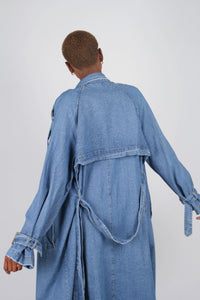 Dark denim long trench coat7