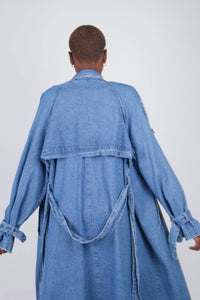Dark denim long trench coat8