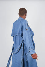 Load image into Gallery viewer, Dark denim long trench coat9