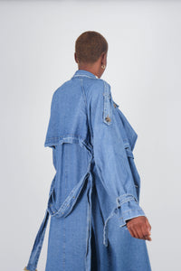 Dark denim long trench coat9