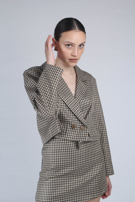 22826_Beige and black checked suit skirt_MCFBA1