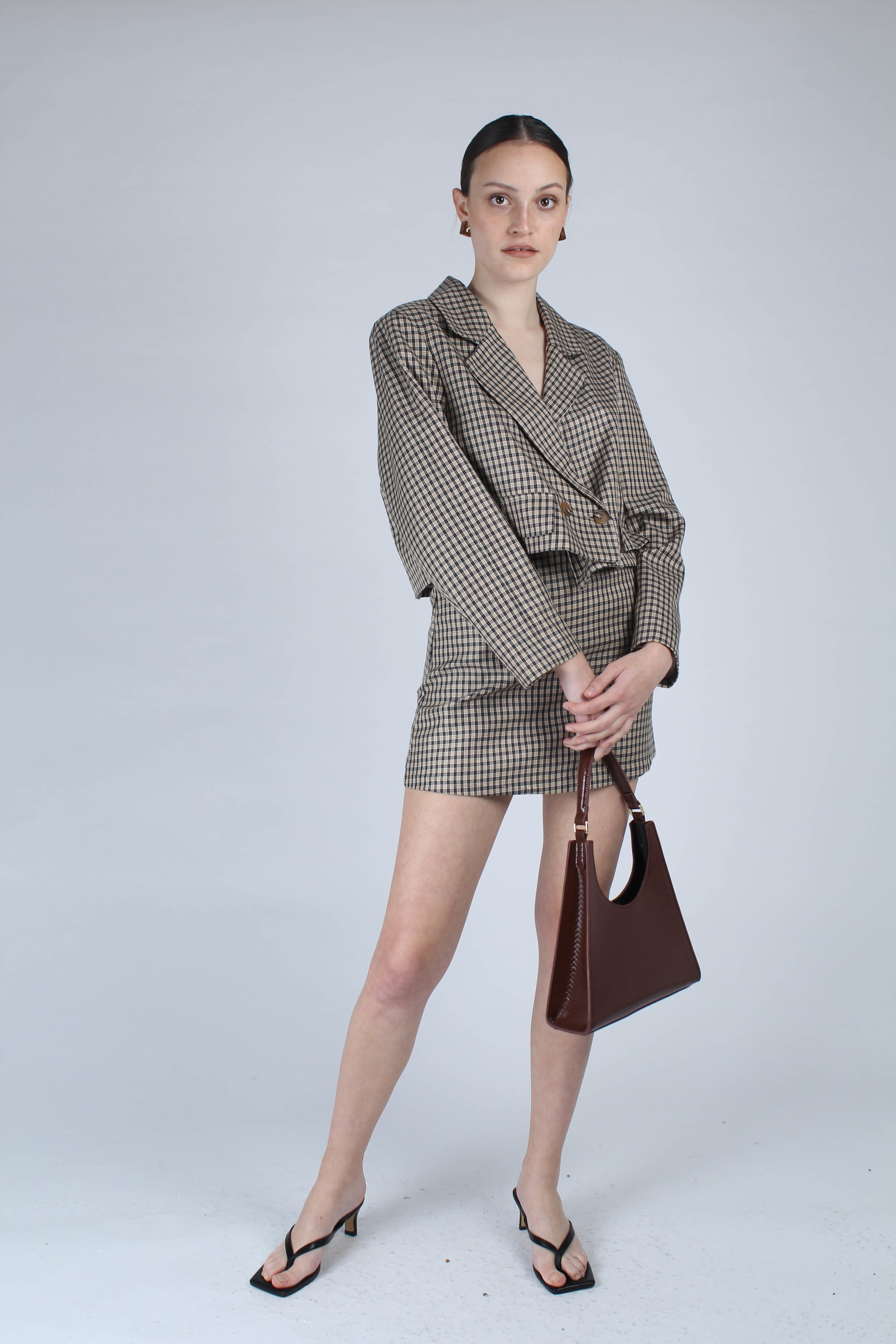 22826_Beige and black checked suit skirt_MFFBA1