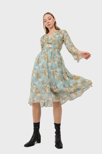 Light blue and mustard floral print layered V dress1
