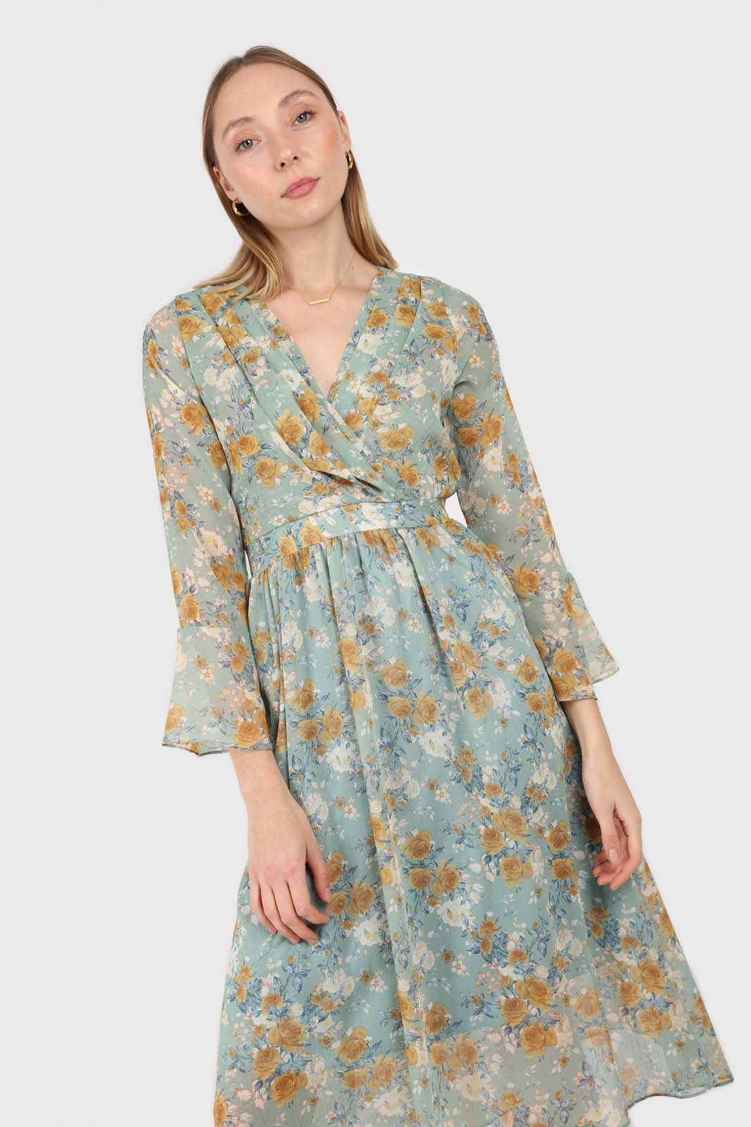 Light blue and mustard floral print layered V dress2