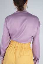 Load image into Gallery viewer, 22834_Lilac textured silky plunging tie front shirt_MCBBA1