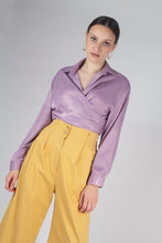 Load image into Gallery viewer, 22834_Lilac textured silky plunging tie front shirt_MCFBA1