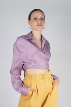 Load image into Gallery viewer, 22834_Lilac textured silky plunging tie front shirt_MCFBA2