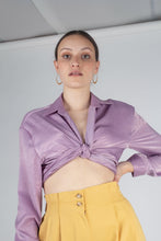 Load image into Gallery viewer, 22834_Lilac textured silky plunging tie front shirt_MCFBA3