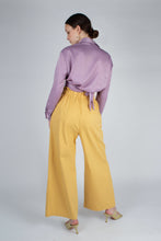 Load image into Gallery viewer, 22834_Lilac textured silky plunging tie front shirt_MFBBA1