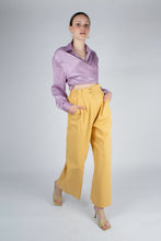 Load image into Gallery viewer, 22834_Lilac textured silky plunging tie front shirt_MFFBA1