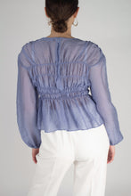 Load image into Gallery viewer, 22836_Mid blue silky ruched long sleeved blouse_MCBBA1