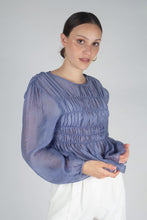 Load image into Gallery viewer, 22836_Mid blue silky ruched long sleeved blouse_MCFBA1
