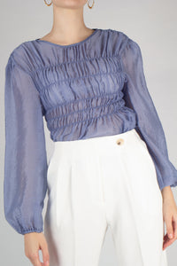 22836_Mid blue silky ruched long sleeved blouse_MCFBA2