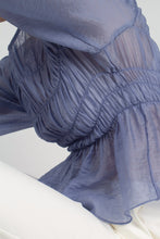 Load image into Gallery viewer, 22836_Mid blue silky ruched long sleeved blouse_MCSBA1
