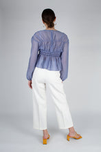 Load image into Gallery viewer, 22836_Mid blue silky ruched long sleeved blouse_MFBBA1