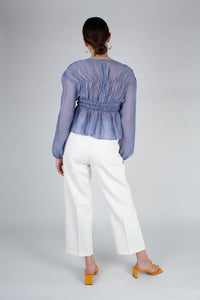 22836_Mid blue silky ruched long sleeved blouse_MFBBA1