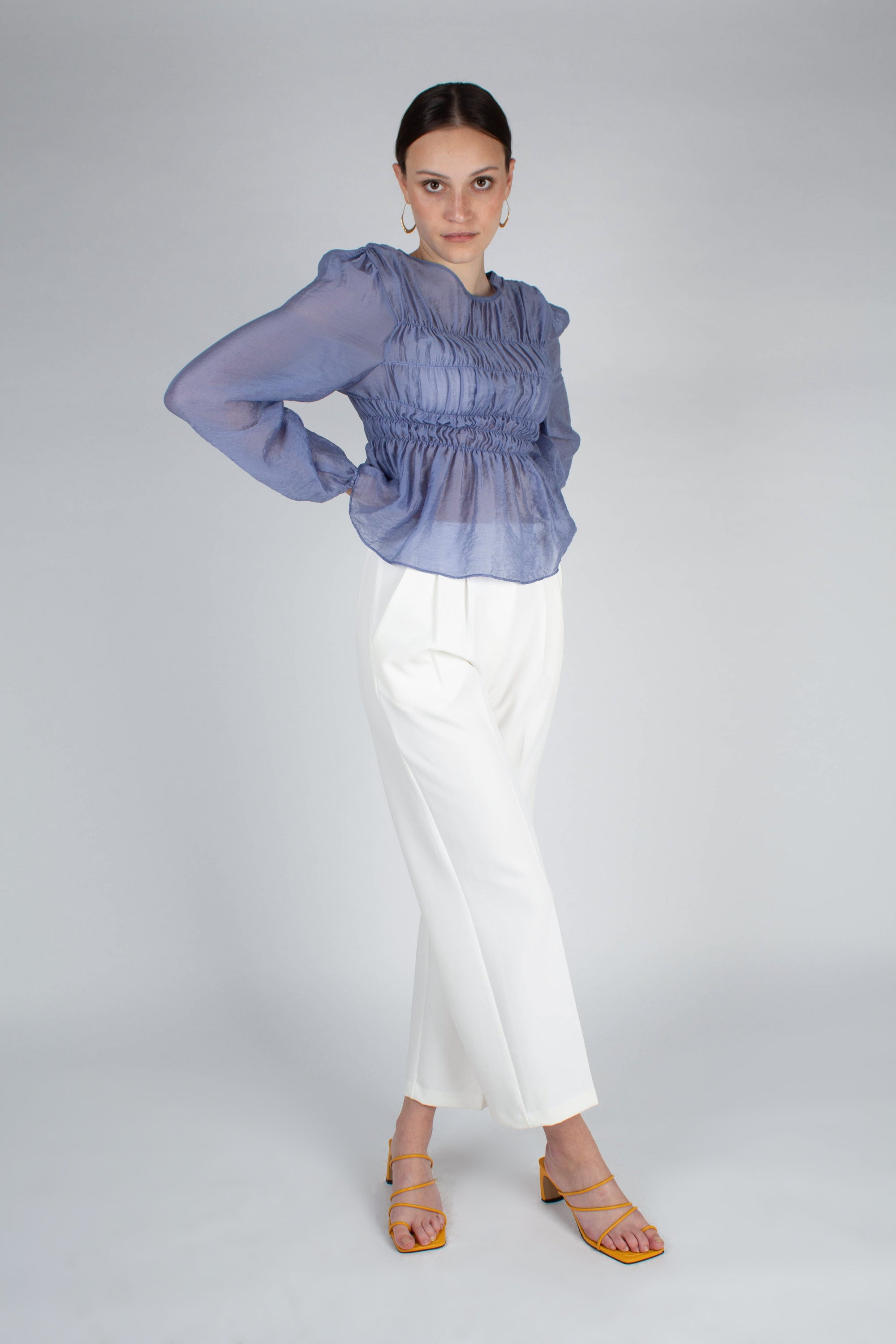 22836_Mid blue silky ruched long sleeved blouse_MFFBA1