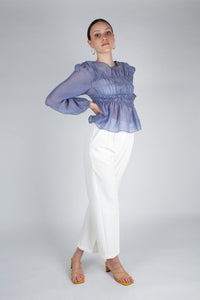 22836_Mid blue silky ruched long sleeved blouse_MFFBA2