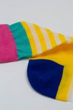 Load image into Gallery viewer, Yellow cobalt and pink multistripe sheer socks_PFDBA1